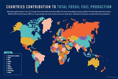 Fossil Coal Production Fuel Oil Country Map