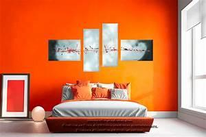 tableau gris blanc quadriptyque evasion celestre grand With couleur moderne pour salon 11 tableau moderne grand format gris
