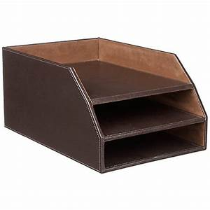 faux leather 3 tier document trayoffice document tray With leather document tray