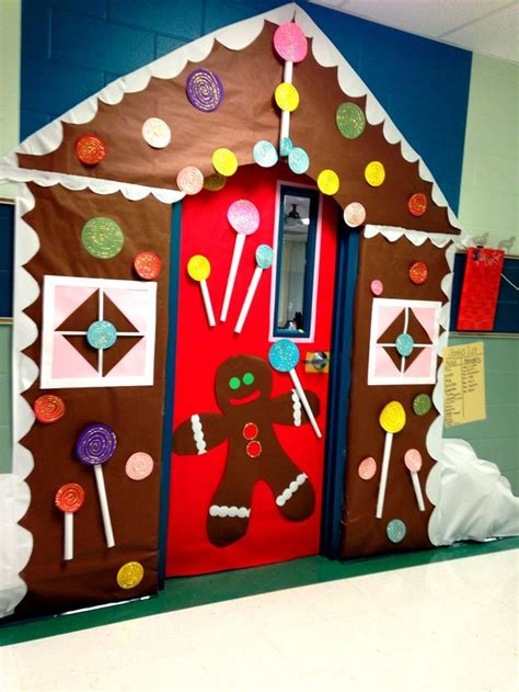 christmas school door decorating ideas gingerbread house meeting room use this one for the shape