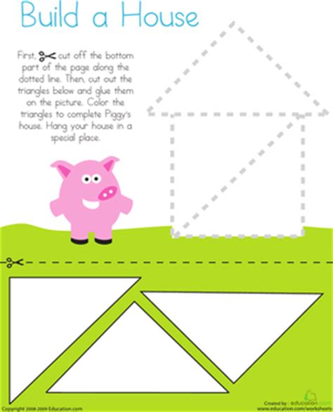 cutting triangles build a house worksheet education 161 | cutting triangles build house fine