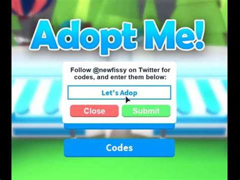 Codes are able to be redeemed in the box on the left of the screen to the left of the mute button. !!!ADOPT ME CODES!!! (roblox) - YouTube