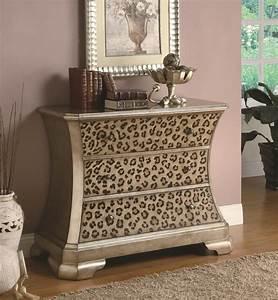 Accent cabinets diva print accent cabinet console sofa for Animal print furniture home decor