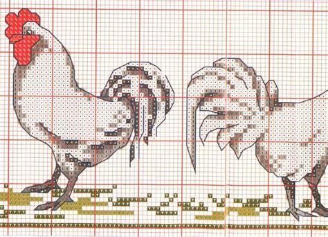 point de croix cuisine broderie sur torchon poules 3
