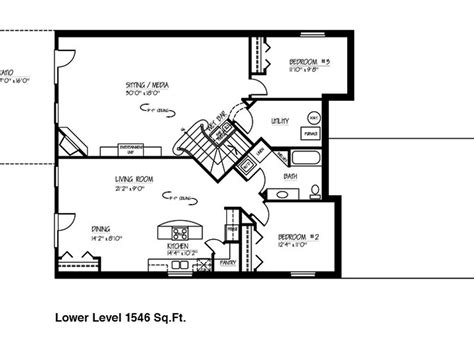 house plans with finished basement small ranch house floor plans with basement on 1600 sq ft