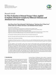 Pdf  In Vitro Evaluation Of Manual Torque Values Applied
