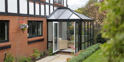 small black conservatory  polycarbonate roof  clearview
