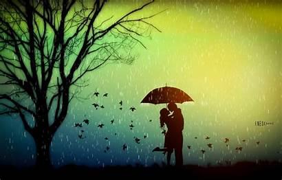 Rain Romance Autumn Umbrella Leaves Lovers Tree