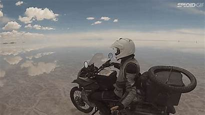 Motorcycle Riding Salt Flats Sky Flying Mirrored