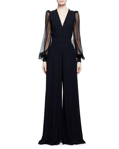 black sleeve jumpsuit mcqueen sheer sleeve wide leg crepe jumpsuit in