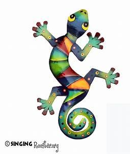 Colorful Gecko wall art. Handmade, Fair Trade Haiti