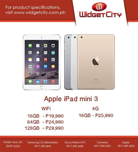 mini 3 wi fi 16gb air 2 and mini 3 now available in ph via widget