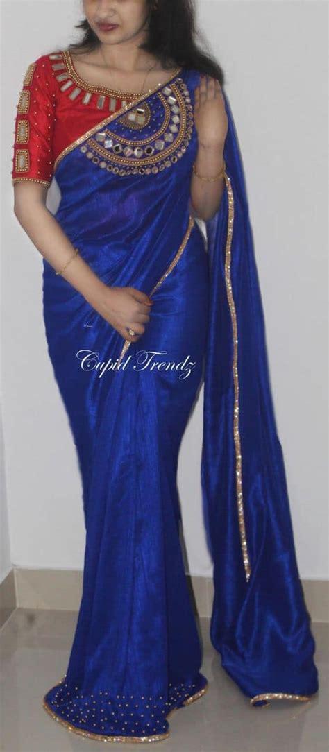 types  designer saree  blouse simple