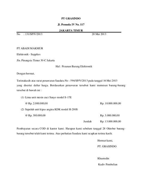 Contoh Surat Permintaan Barang Elektronik by Contoh Surat Penawaran Barang Elektronik Dalam Bentuk Semi