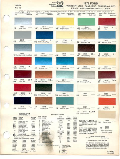 ford truck color chips