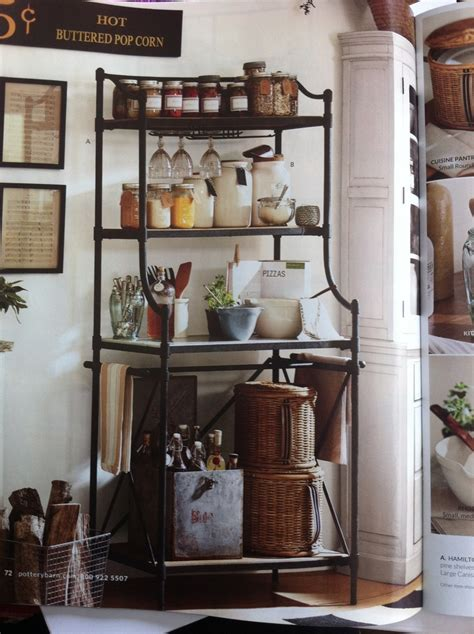 pottery barn kitchen ideas pottery barn bakers rack janet s fabulous cottage kitchen ideas p