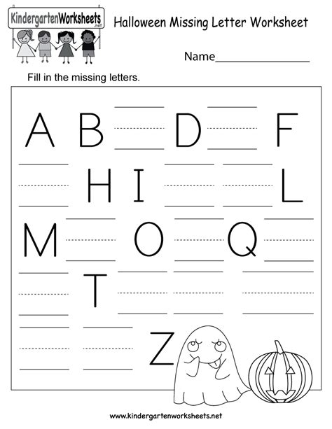 Halloween Missing Letter Worksheet  Free Kindergarten Holiday Worksheet For Kids