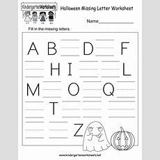 Halloween Missing Letter Worksheet  Free Kindergarten Holiday Worksheet For Kids