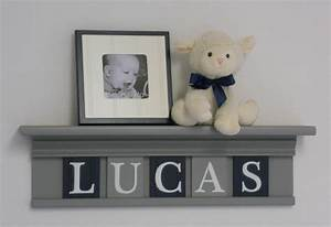 Navy blue and gray baby nursery wall decor room