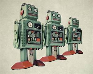 Retro Robots Wall Mural Photo Wallpaper by LoveAbode com