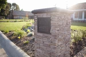 Yorba Linda Stacked Stone Mailbox - Traditional - Patio