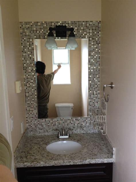 build  mosaic tile mirror   small bathroom good
