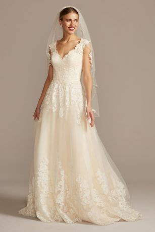 scalloped  neck lace  tulle wedding dress davids bridal
