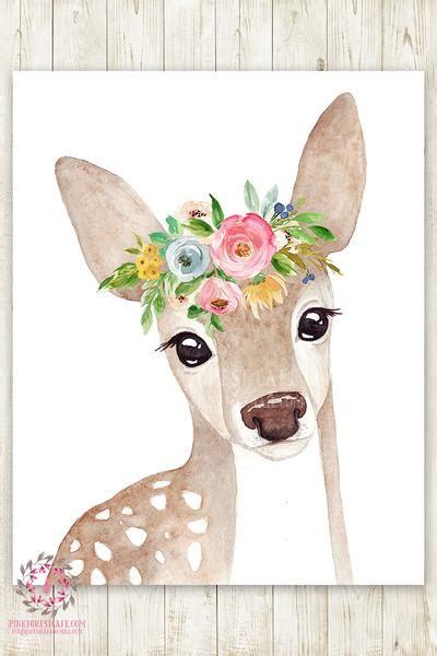 boho watercolor deer woodland wall art print nursery