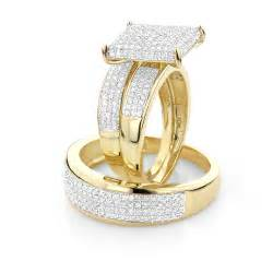 discount wedding ring sets affordable trio ring sets wedding ring set 1 25ct 10k gold
