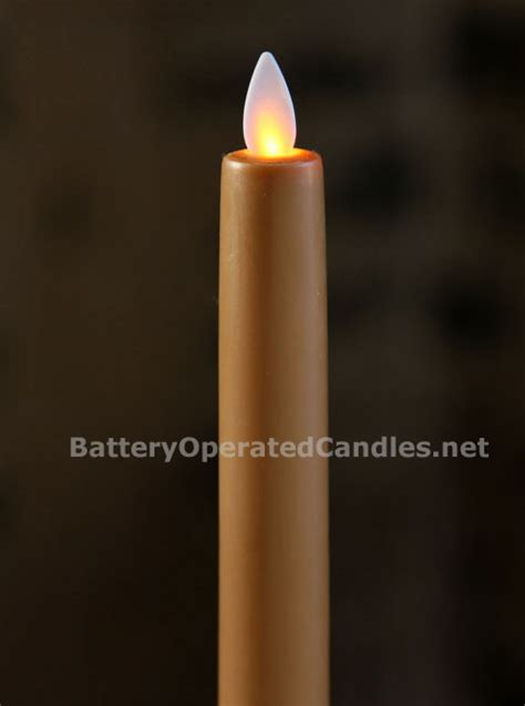 taupe moving flame battery operated taper candle
