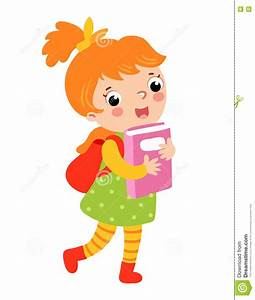 Cute girl go to school. stock illustration. Illustration ...