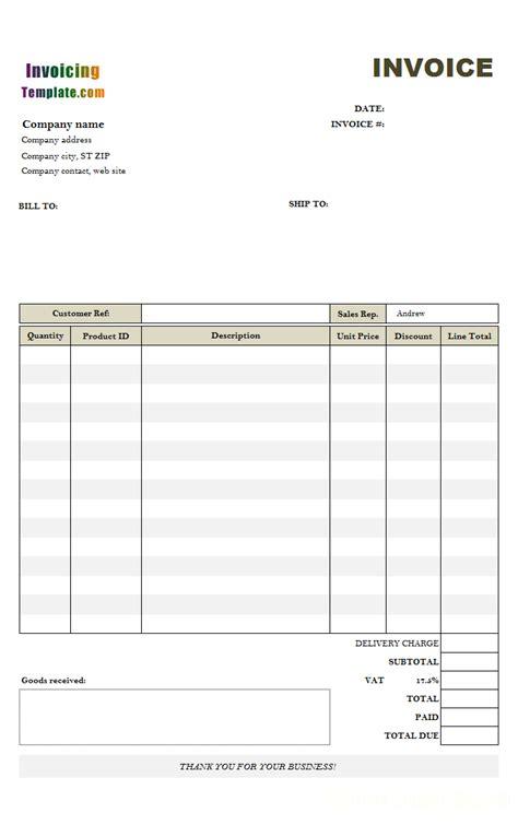 uk tax invoice template invoice template invoice