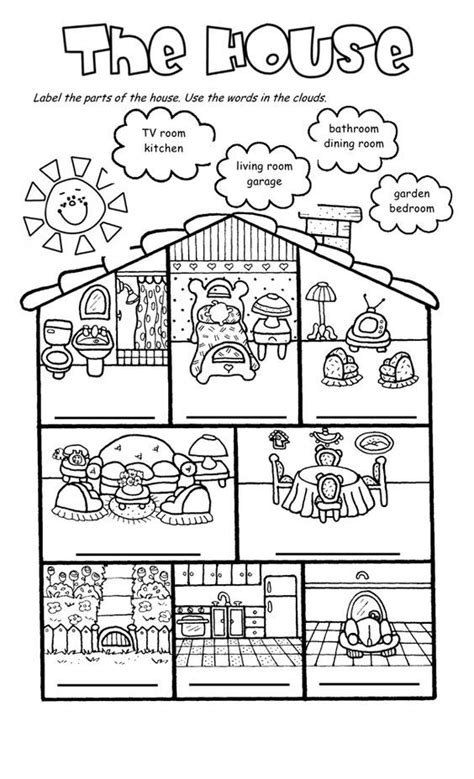 house worksheets  house song  worksheet english