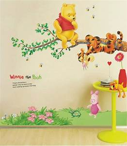 nursery tree wall stickers uk peenmediacom With kitchen colors with white cabinets with winnie the pooh canvas wall art
