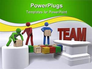 A group of 3d figures engaging in team building powerpoint for Team building powerpoint presentation templates