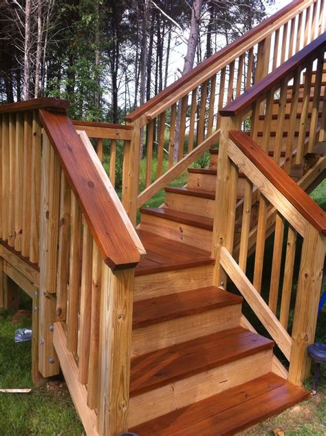 two toned stained deck distinctive designs
