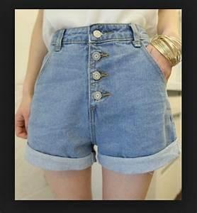 Denim shorts button up high waisted shorts fashion tumblr shorts trendy style vintage ...