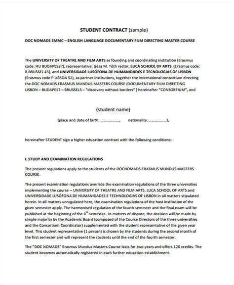 Student Contract Template by 12 Student Contract Templates Free Sle Exle