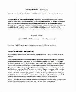 12 student contract templates free sample example for Student contracts templates