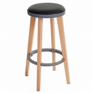 Tabouret 70 Cm : 2x tabouret de bar douglas chaise de bar comptoir bois similicuir 70x43x43cm noir gris ~ Teatrodelosmanantiales.com Idées de Décoration