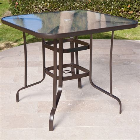 outdoor dining table with umbrella hole 40 inch outdoor patio dining table with glass top and