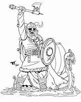 Viking Axe Warrior Colouring Coloriage Coloring Clipart Vikings Drawing Tattoos Dessin Boat Pillage Guerrier Chevalier Raised Enfants Numbers Colorier Kleurplaten sketch template