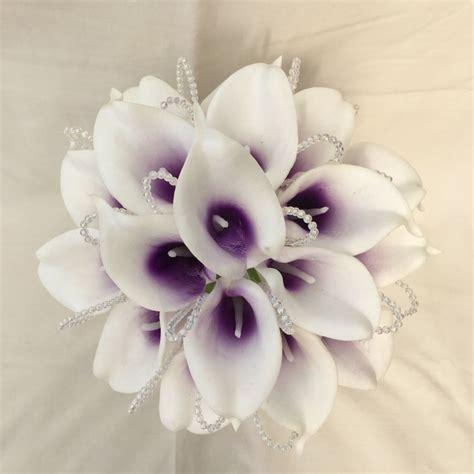 brides bridesmaids posy bouquet cala lilies white purple