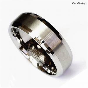 Titanium color two tone tungsten carbide wedding band men for Mens wedding ring bands