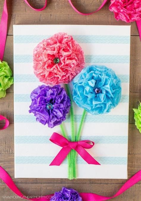 tissue paper flower bouquet canvas    wall