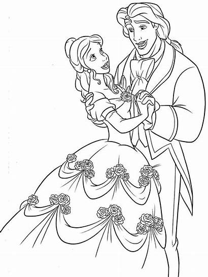 Belle Coloring Pages Princess Disney Beast Beauty