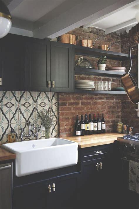 minimalist kitchens  exposed brick walls home