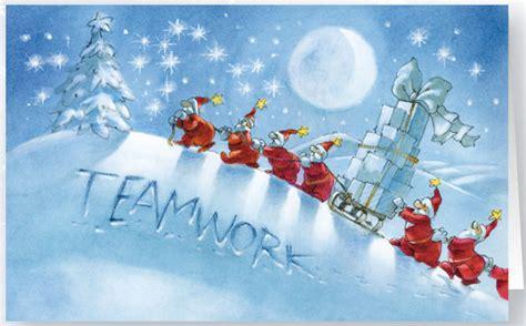 originelle weihnachtskarte teamwork branchenneutral