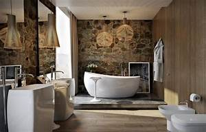 revetement mural bois brut mzaolcom With carrelage mural pierre salle de bain