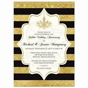 golden anniversary invitation black faux gold foil With black and white wedding anniversary invitations